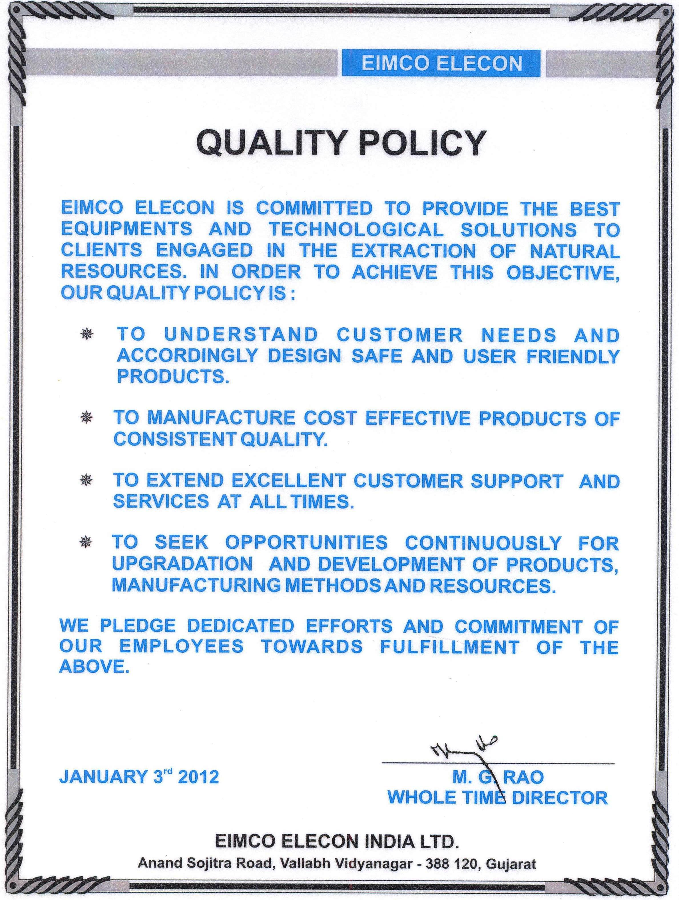 Quality Policy Eimco Elecon India Limitedeimco Elecon